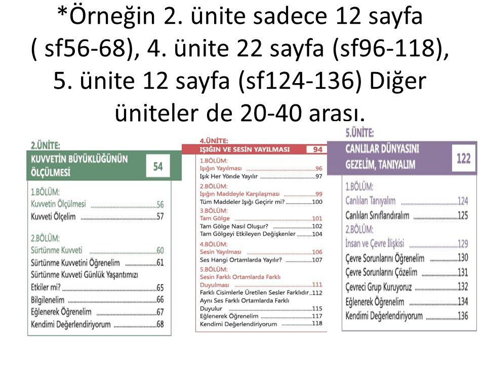 Örneğin 2. ünite sadece 12 sayfa ( sf56-68), 4
