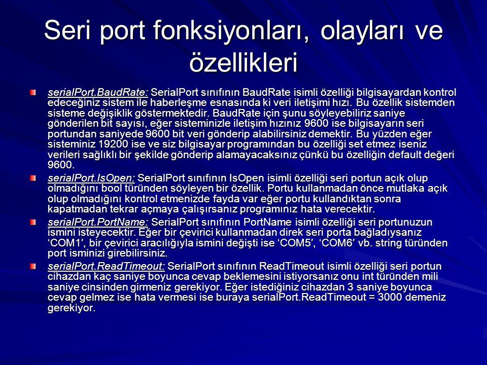 Seri port fonksiyonları, olayları ve özellikleri