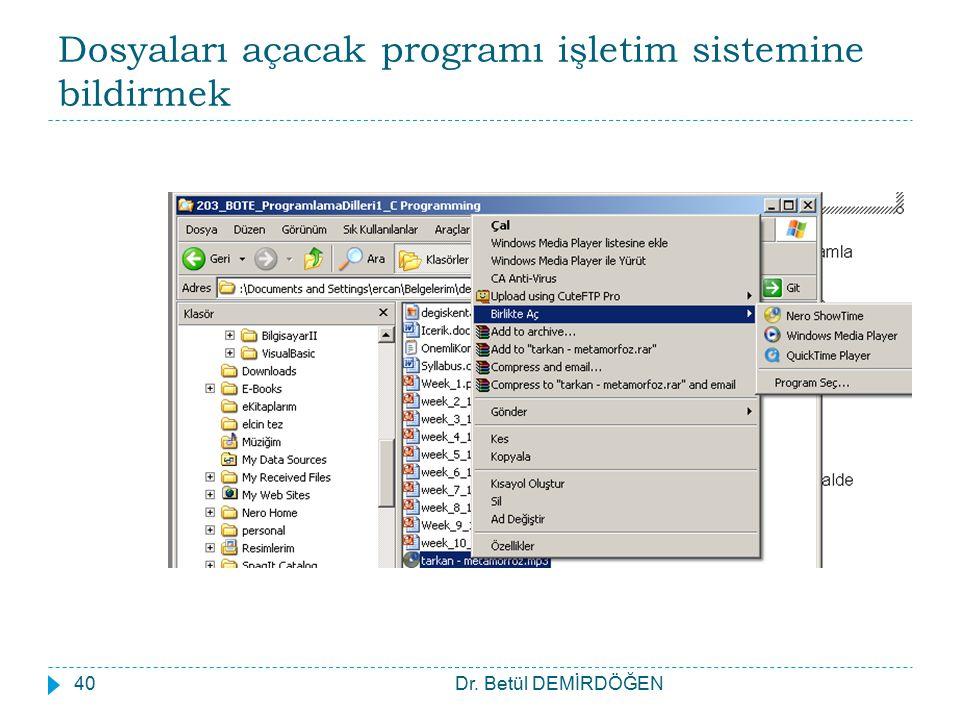 Dosyaları açacak programı işletim sistemine bildirmek