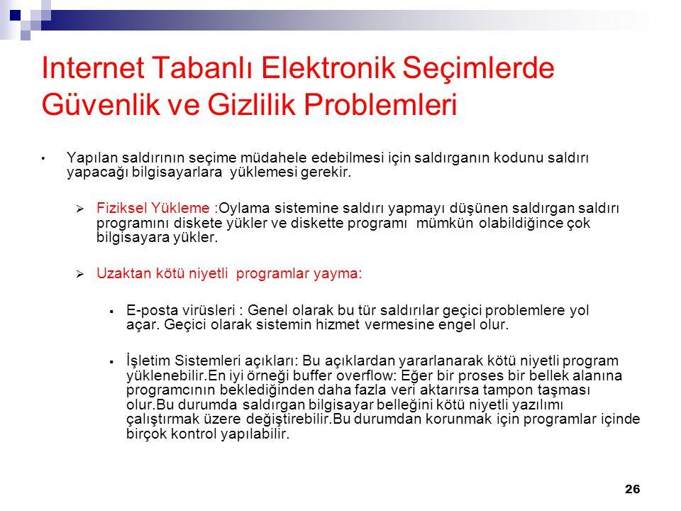 Internet Tabanlı Elektronik Seçimlerde Güvenlik ve Gizlilik Problemleri