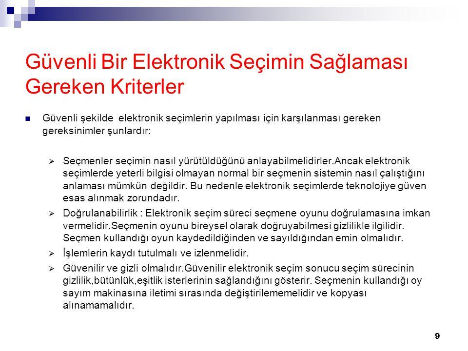 Güvenli Bir Elektronik Seçimin Sağlaması Gereken Kriterler