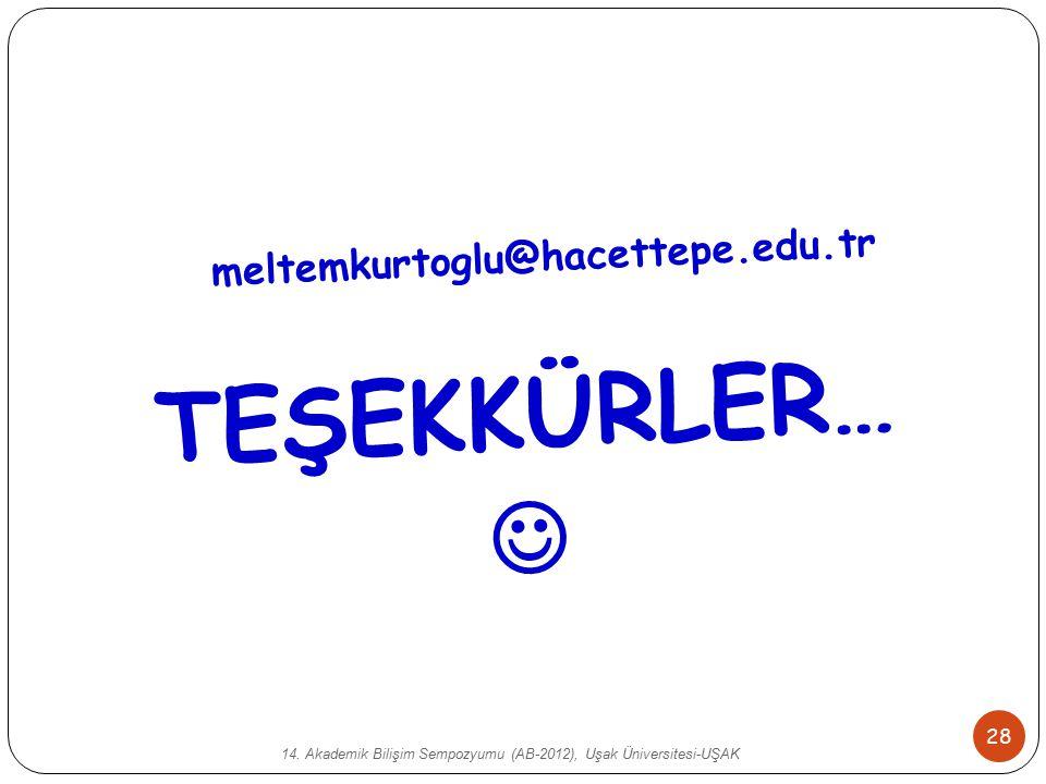14. Akademik Bilişim Sempozyumu (AB-2012), Uşak Üniversitesi-UŞAK