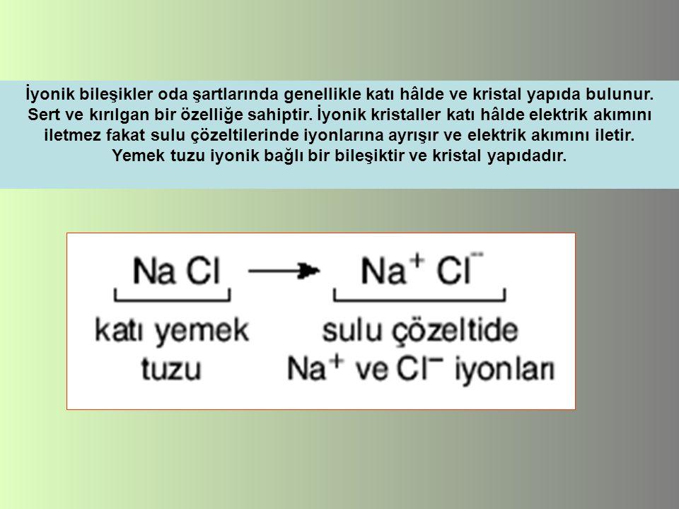 Yemek tuzu iyonik bağlı bir bileşiktir ve kristal yapıdadır.