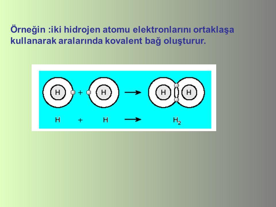Örneğin :iki hidrojen atomu elektronlarını ortaklaşa kullanarak aralarında kovalent bağ oluşturur.