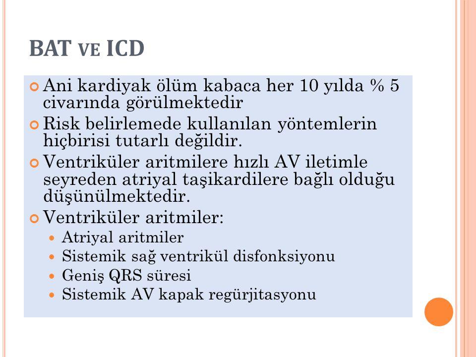 BAT ve ICD Ani kardiyak ölüm kabaca her 10 yılda % 5 civarında görülmektedir. Risk belirlemede kullanılan yöntemlerin hiçbirisi tutarlı değildir.