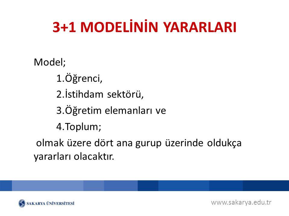 3+1 MODELİNİN YARARLARI Model; Öğrenci, İstihdam sektörü,
