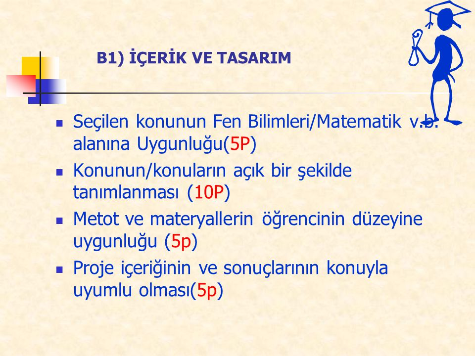 Seçilen konunun Fen Bilimleri/Matematik v.b. alanına Uygunluğu(5P)