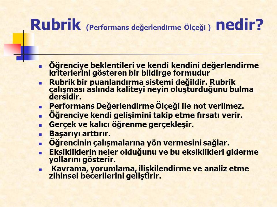 Rubrik (Performans değerlendirme Ölçeği ) nedir