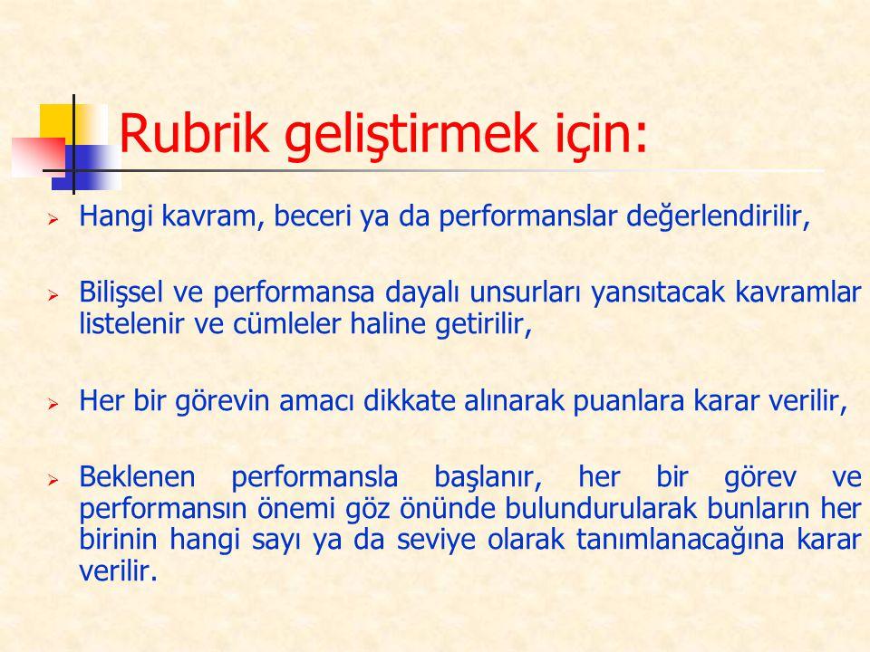 Rubrik geliştirmek için: