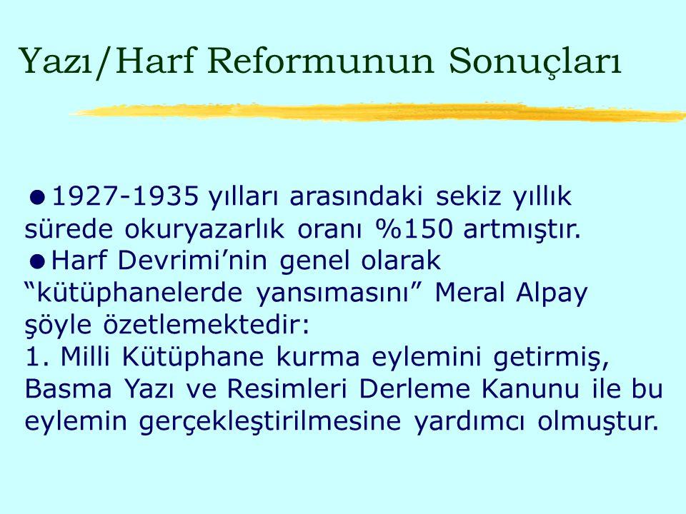 Yazı/Harf Reformunun Sonuçları