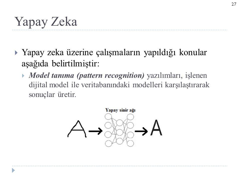 Yapay Zeka Yapay zeka üzerine çalışmaların yapıldığı konular aşağıda belirtilmiştir: