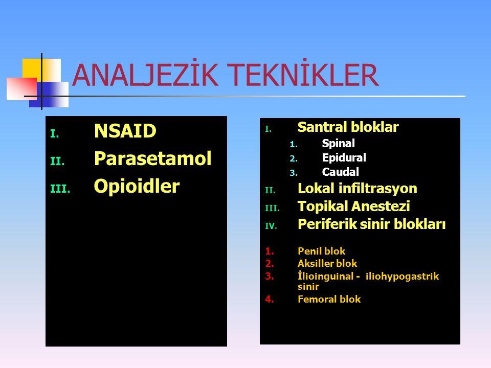 ANALJEZİK TEKNİKLER NSAID Parasetamol Opioidler Santral bloklar