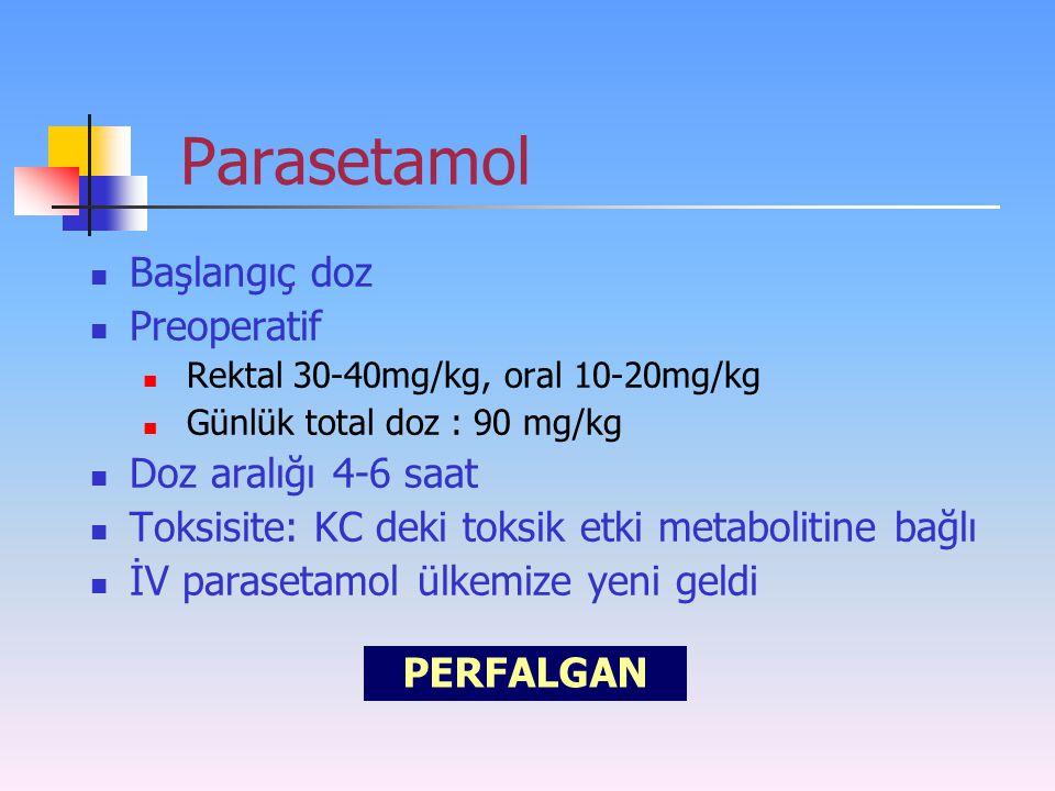 Parasetamol Başlangıç doz Preoperatif Doz aralığı 4-6 saat