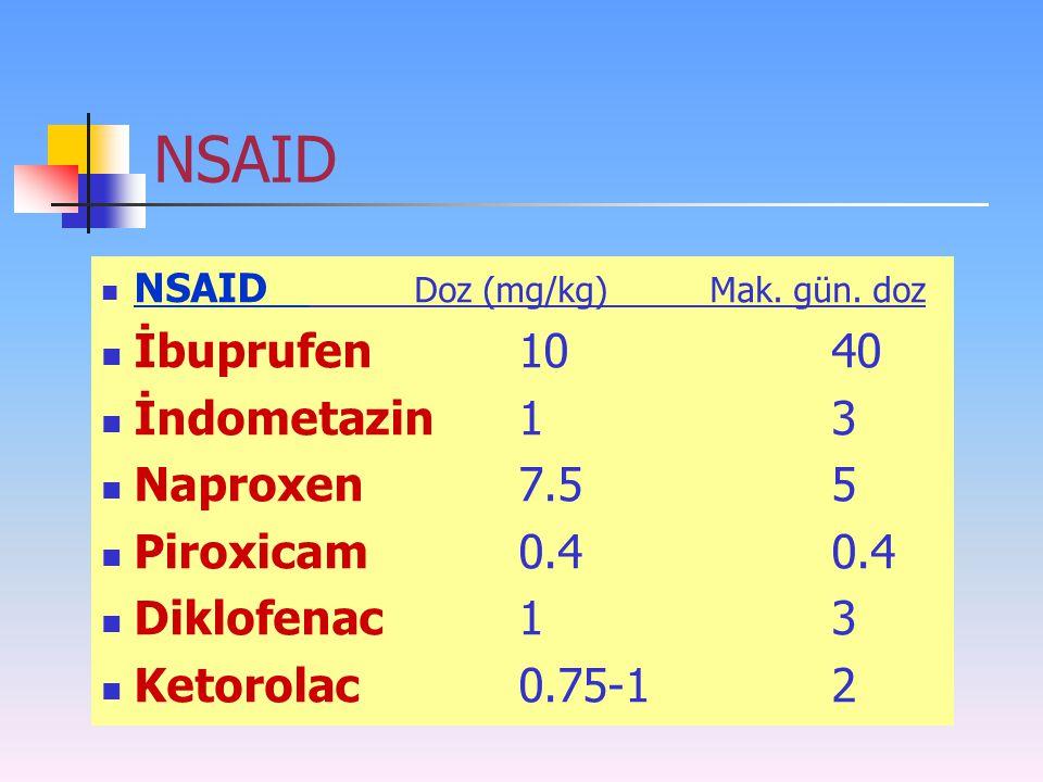 NSAID İbuprufen 10 40 İndometazin 1 3 Naproxen 7.5 5 Piroxicam 0.4 0.4