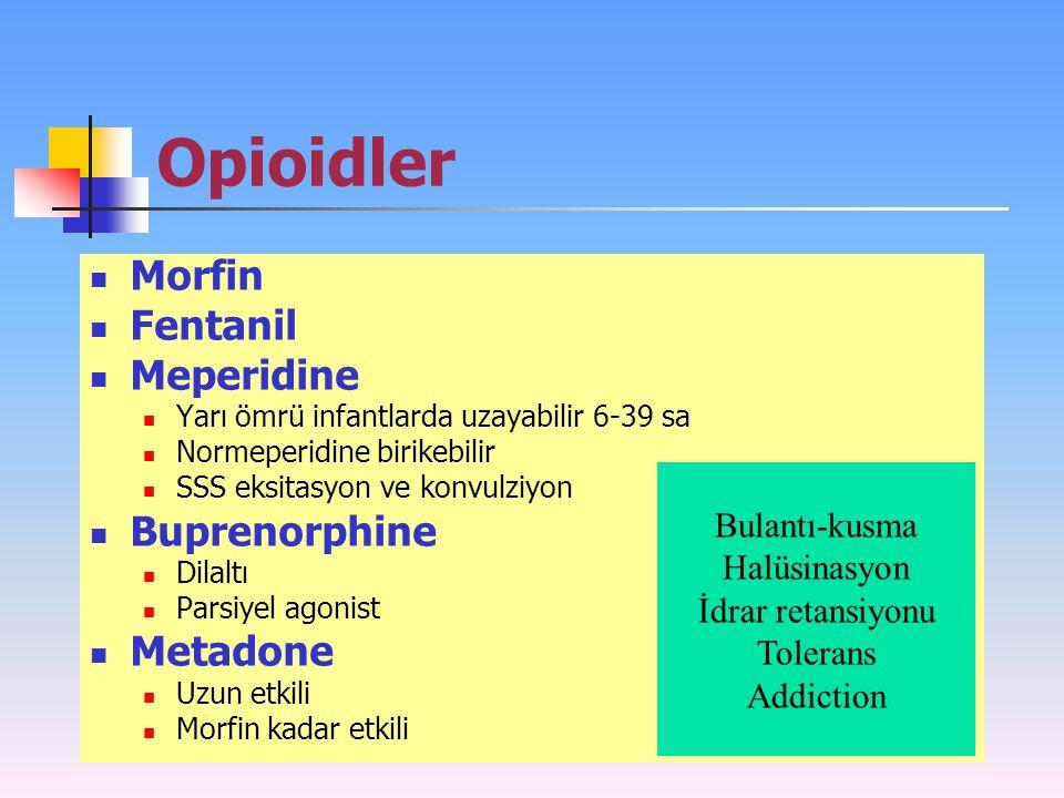 Opioidler Morfin Fentanil Meperidine Buprenorphine Metadone