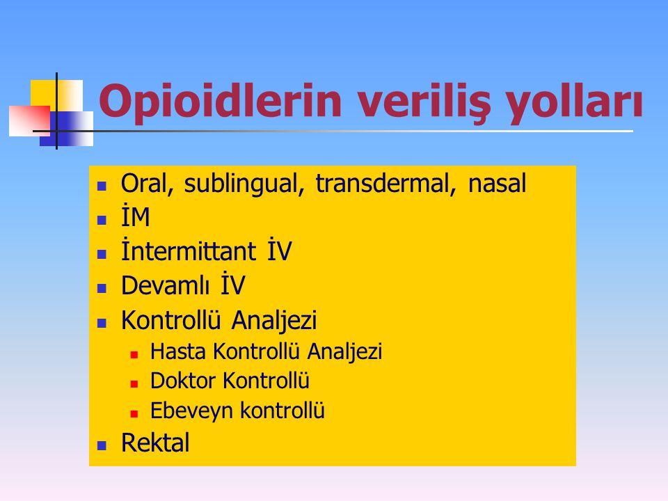 Opioidlerin veriliş yolları