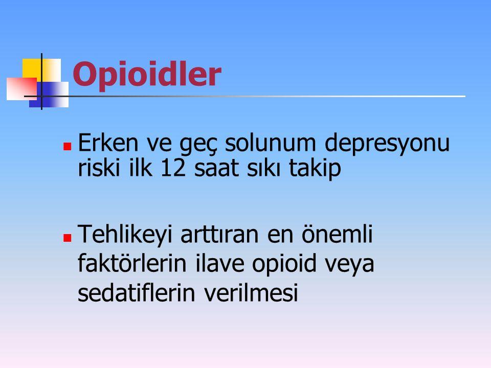 Opioidler Erken ve geç solunum depresyonu riski ilk 12 saat sıkı takip