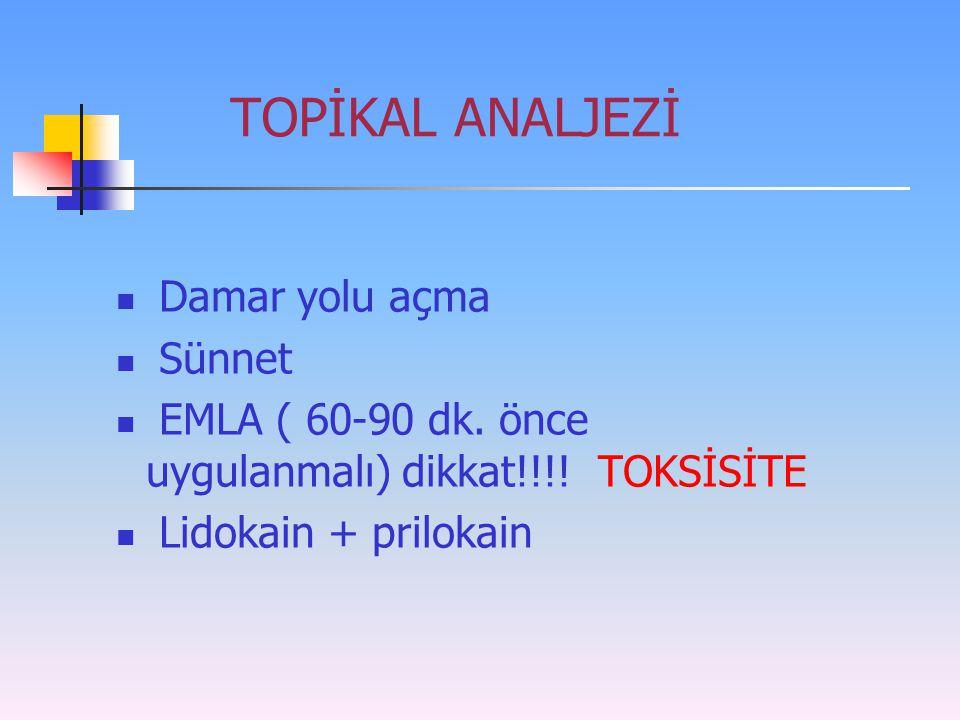 TOPİKAL ANALJEZİ Damar yolu açma Sünnet