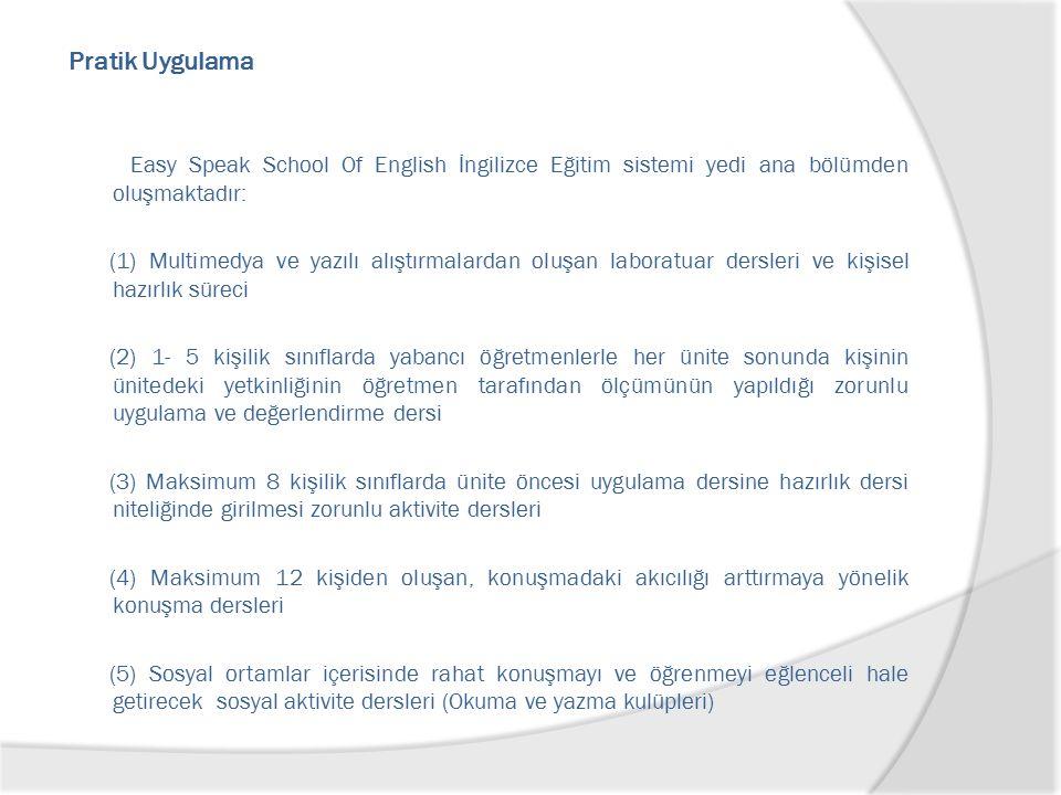 Pratik Uygulama Easy Speak School Of English İngilizce Eğitim sistemi yedi ana bölümden oluşmaktadır: