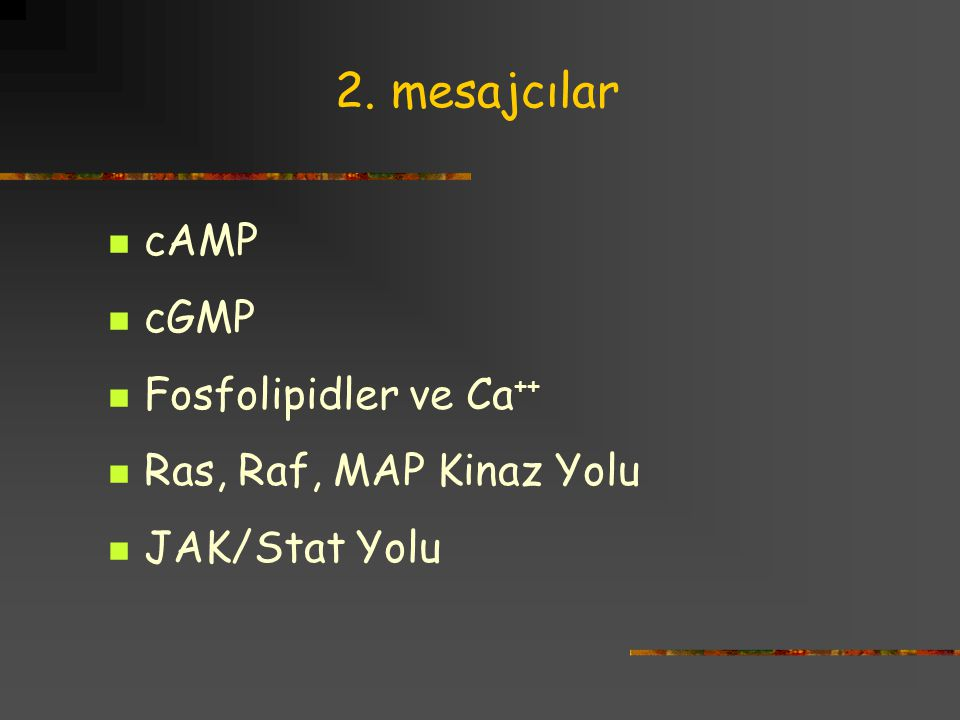 2. mesajcılar cAMP cGMP Fosfolipidler ve Ca++ Ras, Raf, MAP Kinaz Yolu