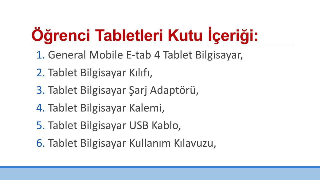 Öğrenci Tabletleri Kutu İçeriği: