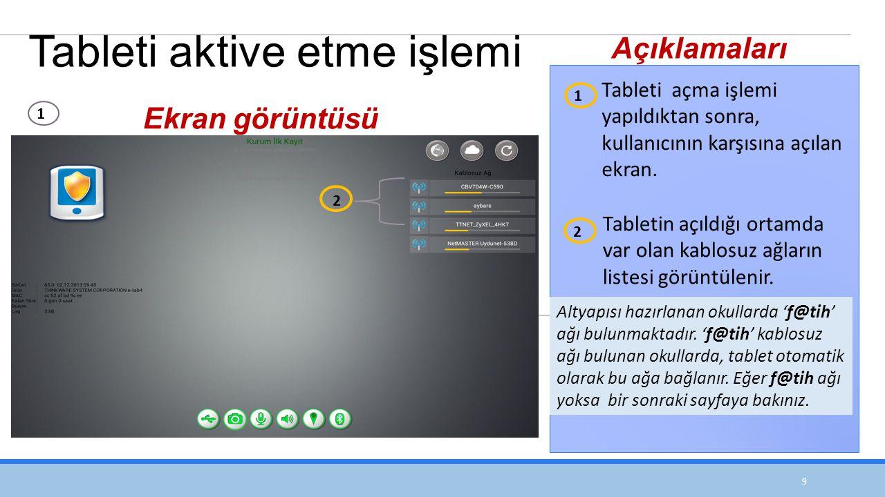Tableti aktive etme işlemi
