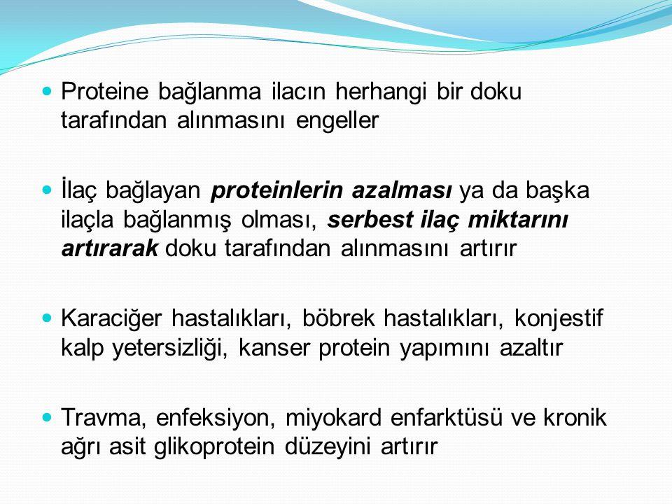 Proteine bağlanma ilacın herhangi bir doku tarafından alınmasını engeller