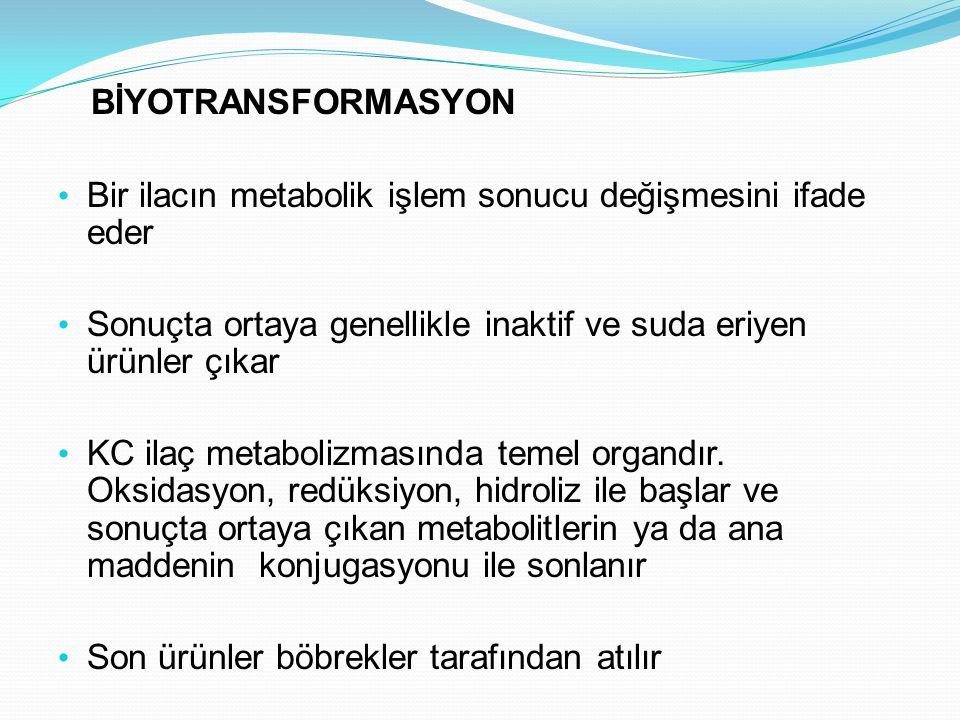 BİYOTRANSFORMASYON Bir ilacın metabolik işlem sonucu değişmesini ifade eder. Sonuçta ortaya genellikle inaktif ve suda eriyen ürünler çıkar.