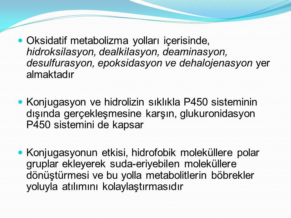 Oksidatif metabolizma yolları içerisinde, hidroksilasyon, dealkilasyon, deaminasyon, desulfurasyon, epoksidasyon ve dehalojenasyon yer almaktadır