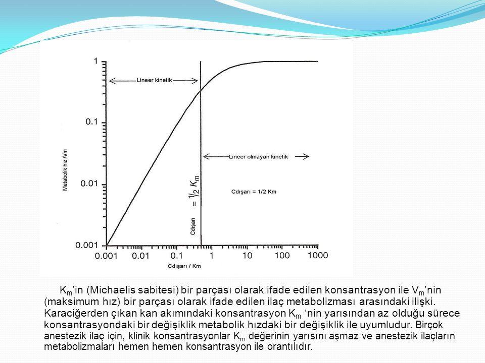 Km'in (Michaelis sabitesi) bir parçası olarak ifade edilen konsantrasyon ile Vm'nin (maksimum hız) bir parçası olarak ifade edilen ilaç metabolizması arasındaki ilişki.