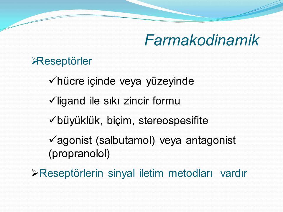 Farmakodinamik Reseptörler hücre içinde veya yüzeyinde