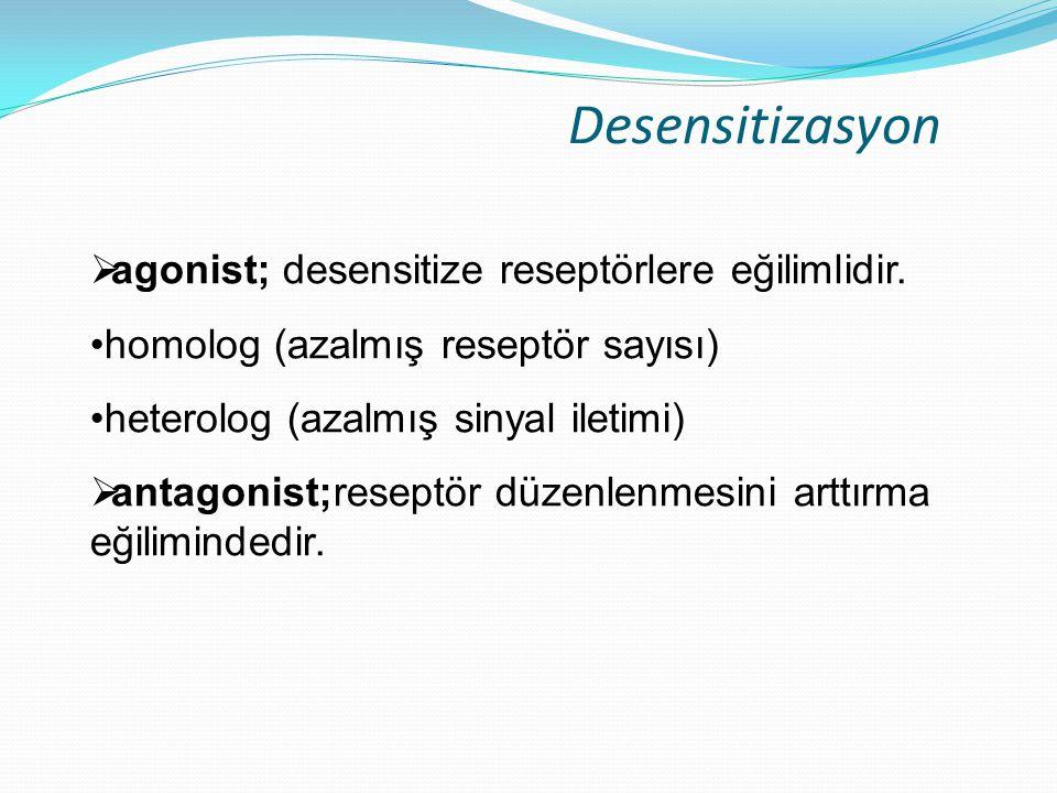 Desensitizasyon agonist; desensitize reseptörlere eğilimlidir.