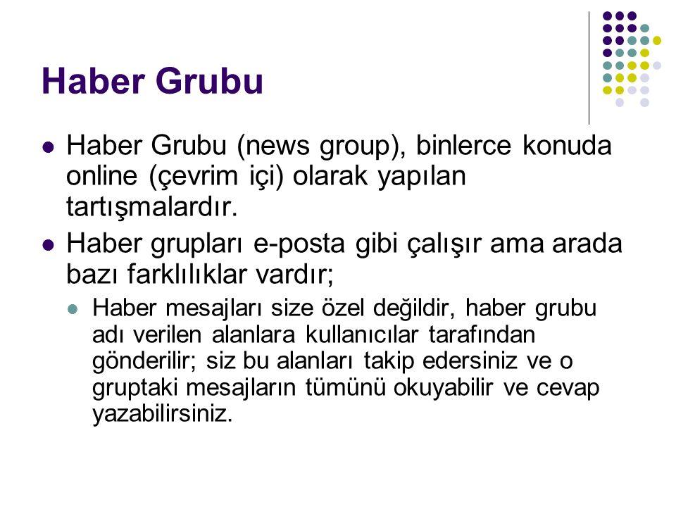 Haber Grubu Haber Grubu (news group), binlerce konuda online (çevrim içi) olarak yapılan tartışmalardır.