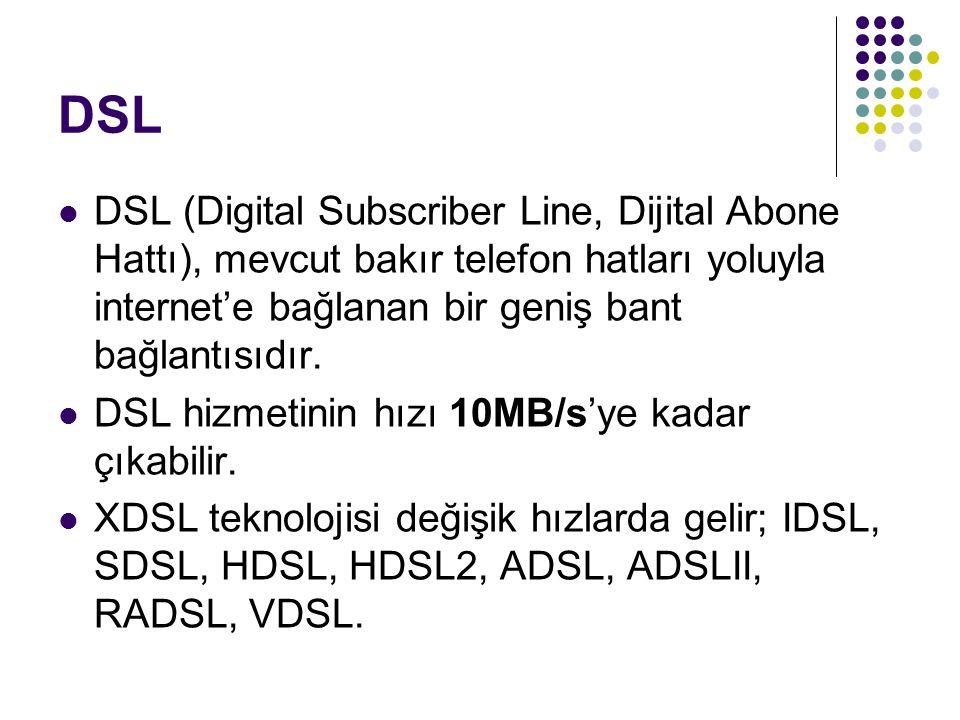DSL DSL (Digital Subscriber Line, Dijital Abone Hattı), mevcut bakır telefon hatları yoluyla internet'e bağlanan bir geniş bant bağlantısıdır.