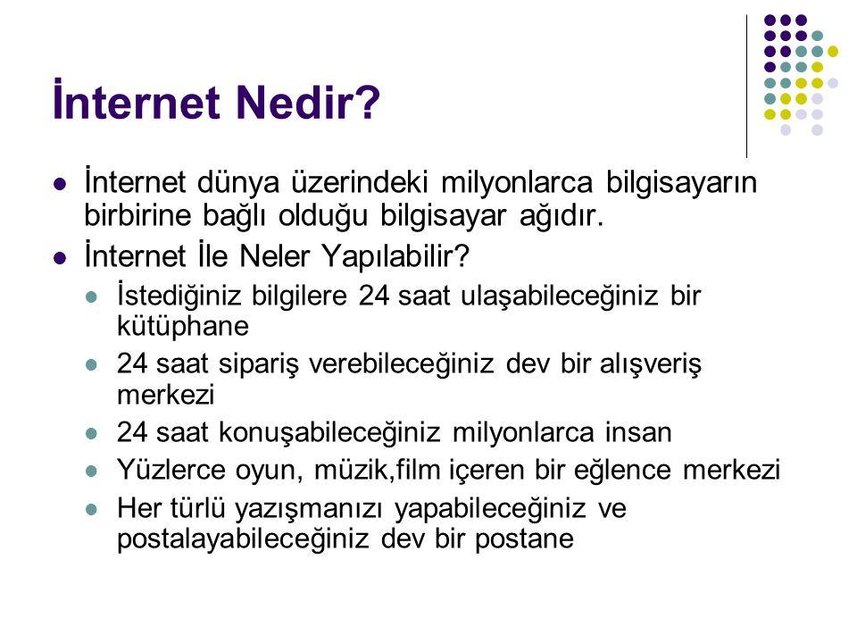 İnternet Nedir İnternet dünya üzerindeki milyonlarca bilgisayarın birbirine bağlı olduğu bilgisayar ağıdır.