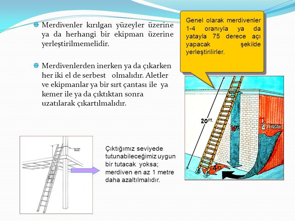Genel olarak merdivenler 1-4 oranıyla ya da yatayla 75 derece açı yapacak şekilde yerleştirilirler.