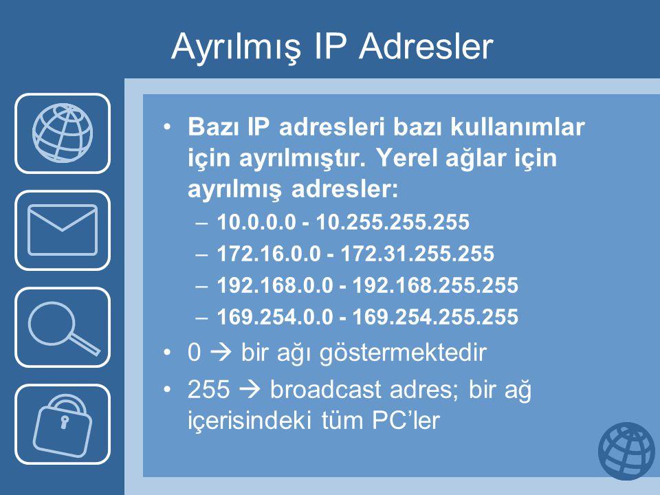 Ayrılmış IP Adresler Bazı IP adresleri bazı kullanımlar için ayrılmıştır. Yerel ağlar için ayrılmış adresler: