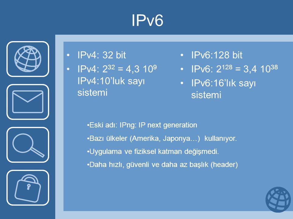 IPv6 IPv4: 32 bit IPv4: 232 = 4,3 109 IPv4:10'luk sayı sistemi