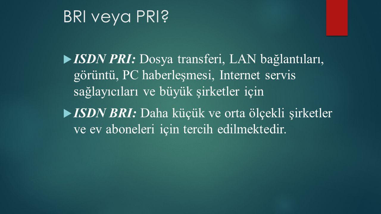 BRI veya PRI ISDN PRI: Dosya transferi, LAN bağlantıları, görüntü, PC haberleşmesi, Internet servis sağlayıcıları ve büyük şirketler için.