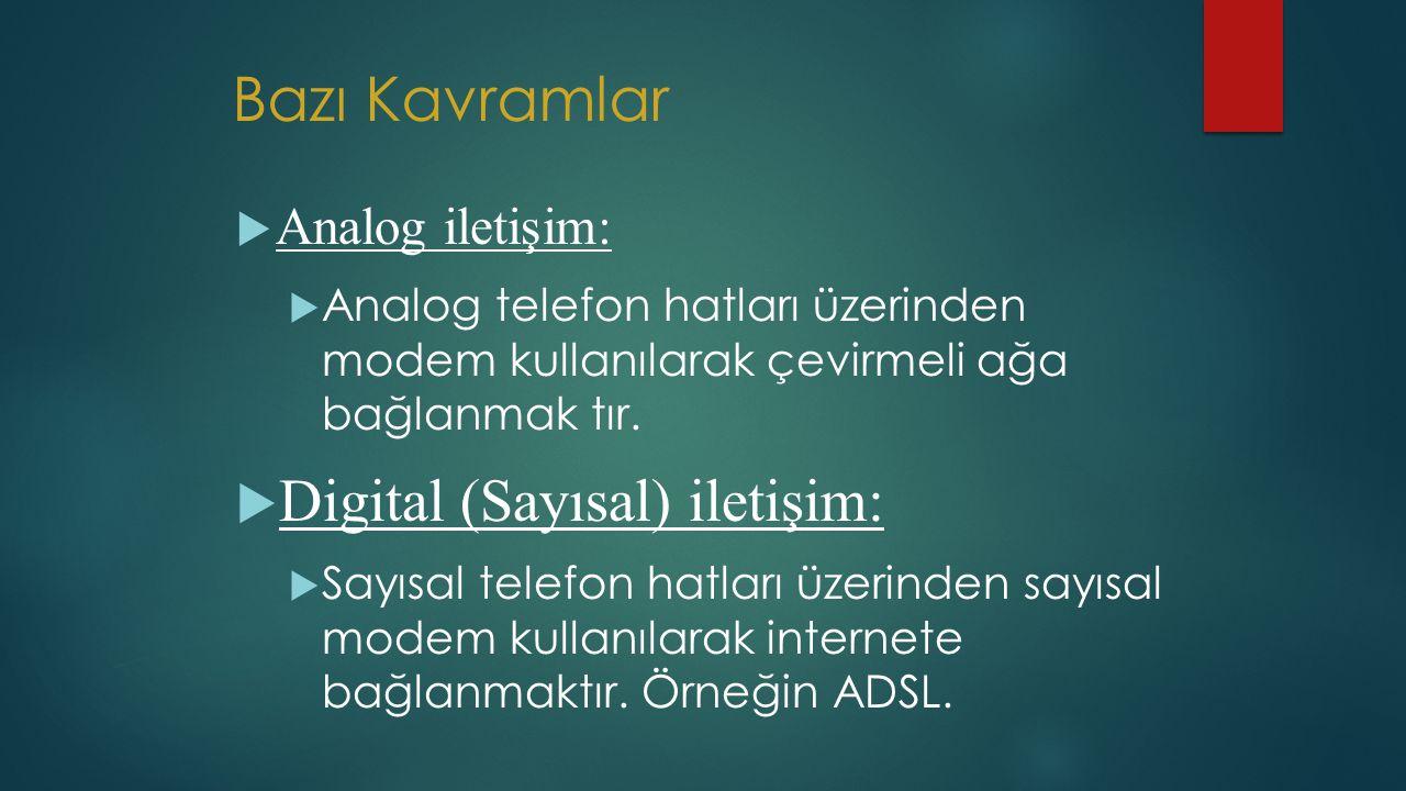 Bazı Kavramlar Digital (Sayısal) iletişim: Analog iletişim: