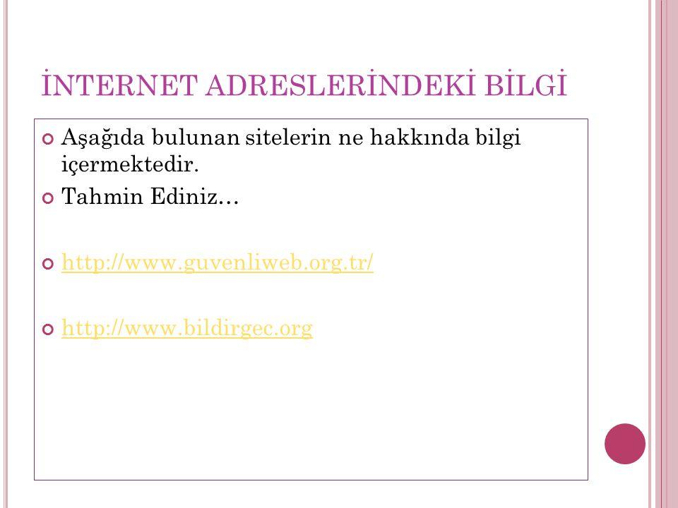 İNTERNET ADRESLERİNDEKİ BİLGİ