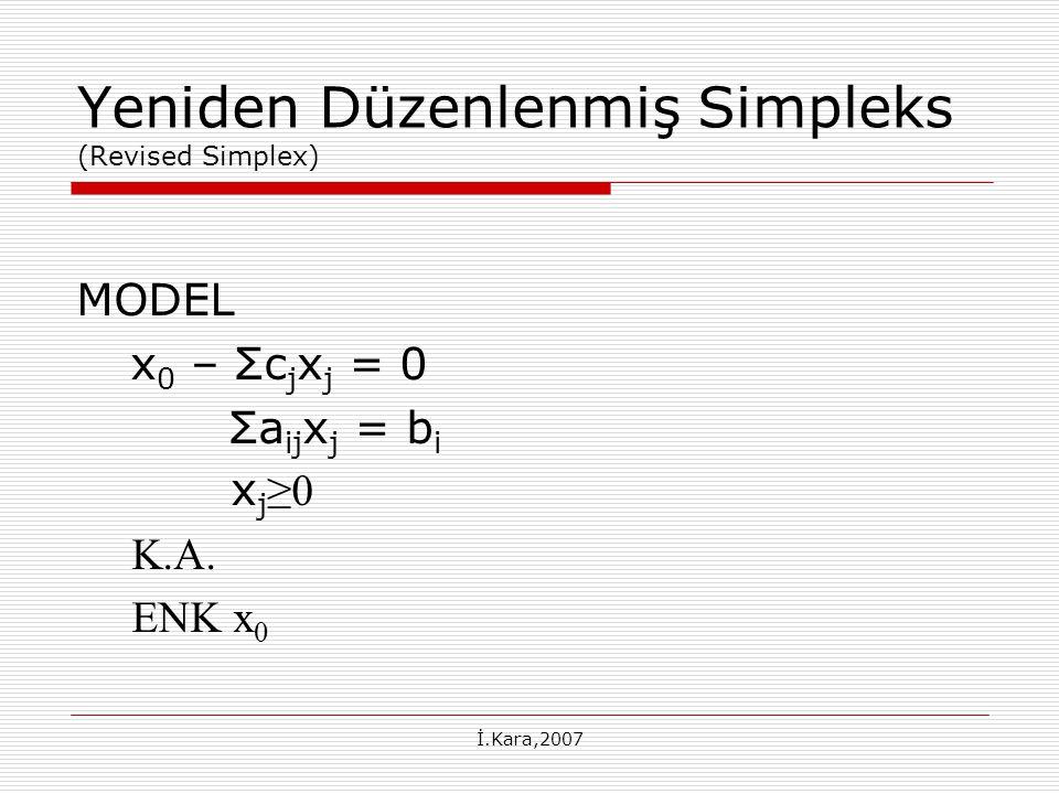 Yeniden Düzenlenmiş Simpleks (Revised Simplex)