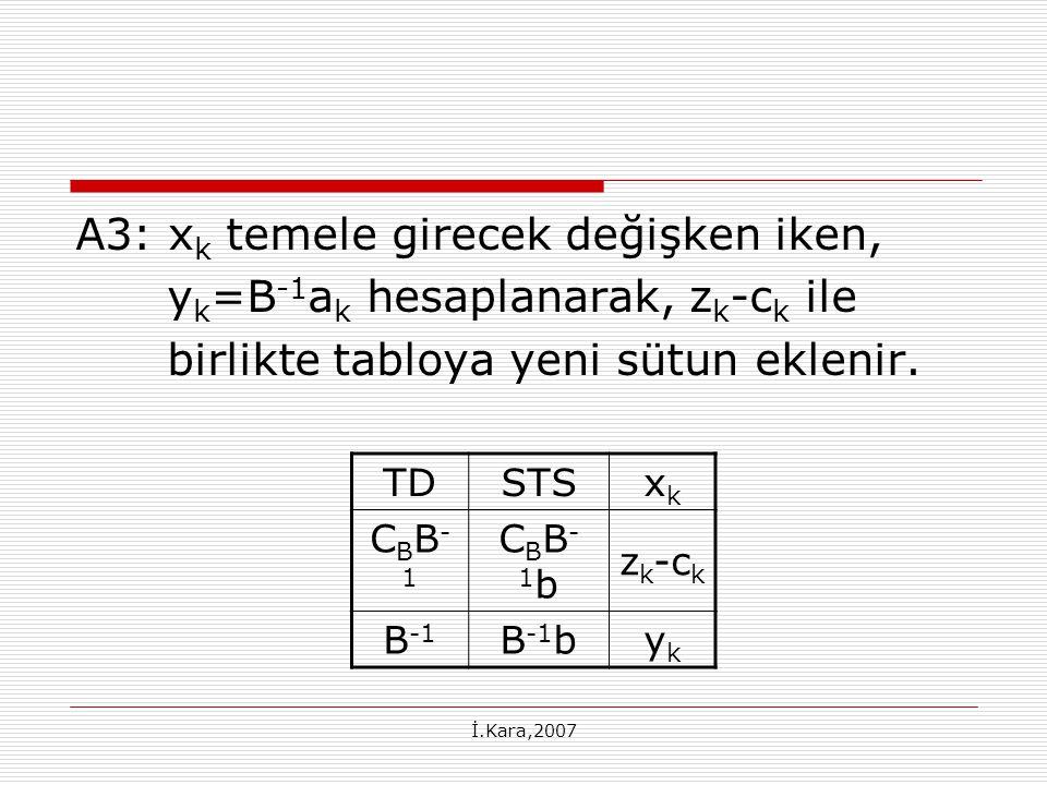 A3: xk temele girecek değişken iken, yk=B-1ak hesaplanarak, zk-ck ile