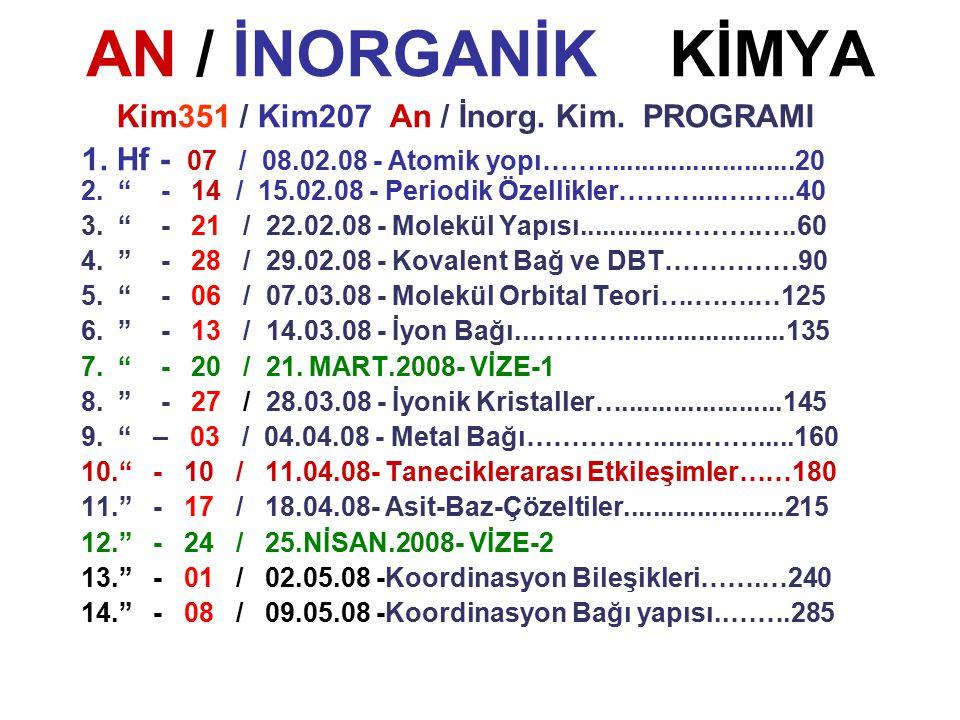 AN / İNORGANİK KİMYA Kim351 / Kim207 An / İnorg. Kim. PROGRAMI