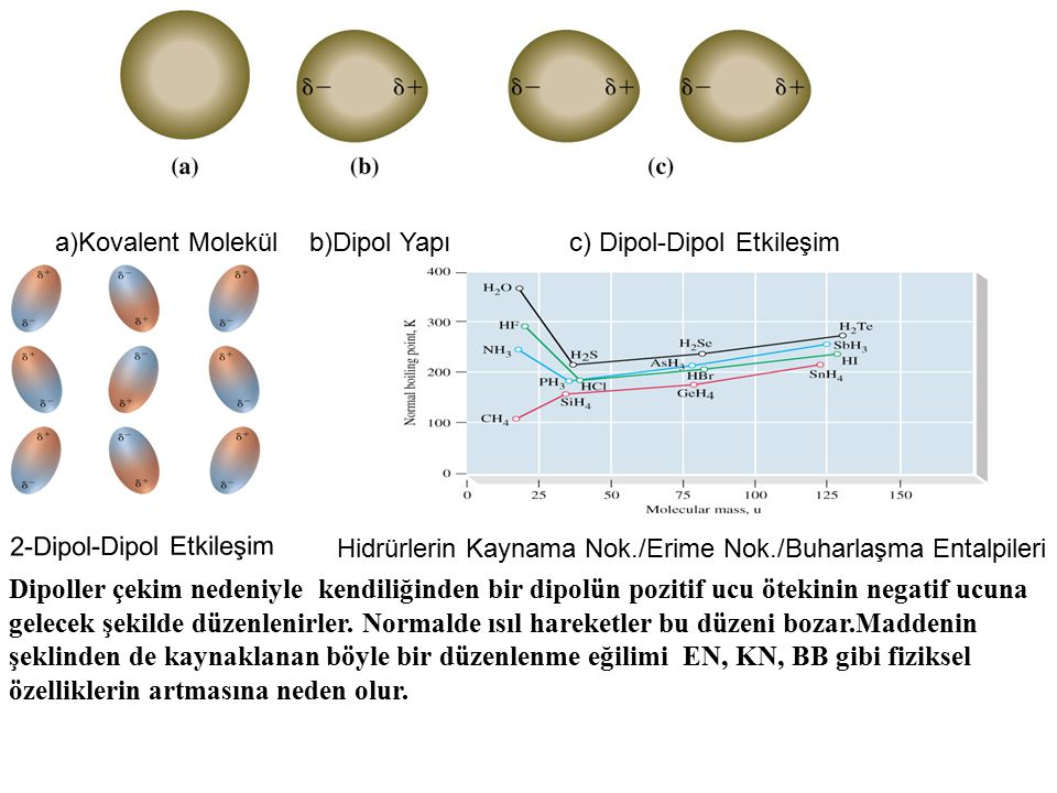 a)Kovalent Molekül b)Dipol Yapı c) Dipol-Dipol Etkileşim