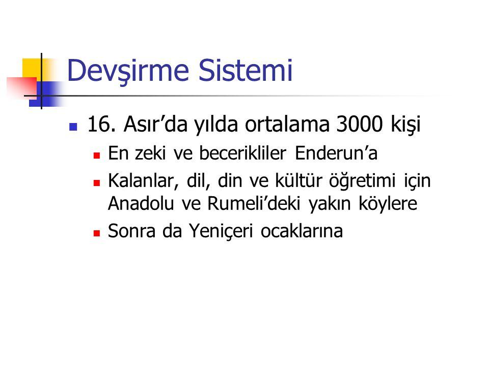 Devşirme Sistemi 16. Asır'da yılda ortalama 3000 kişi