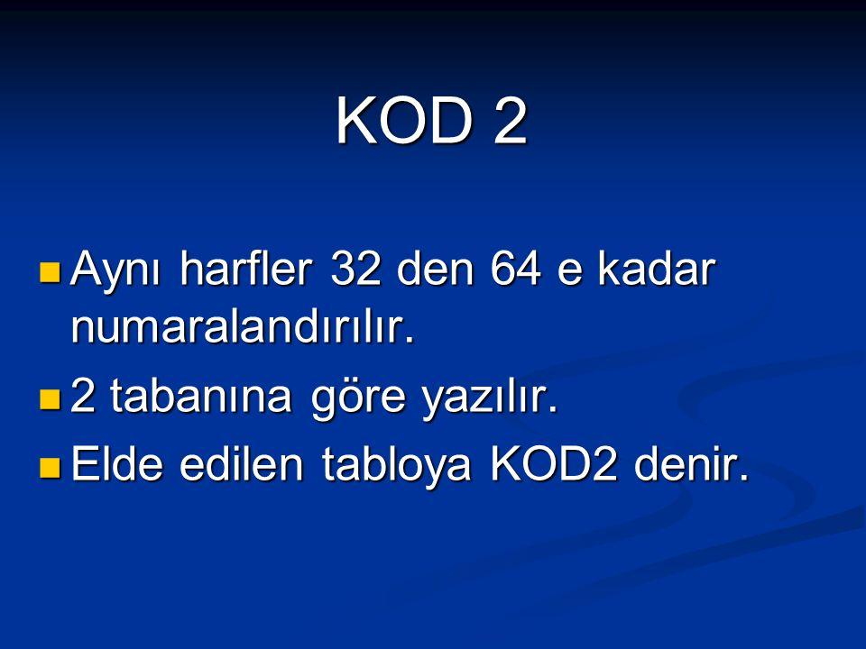 KOD 2 Aynı harfler 32 den 64 e kadar numaralandırılır.