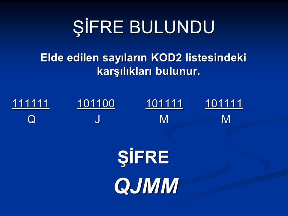 Elde edilen sayıların KOD2 listesindeki karşılıkları bulunur.