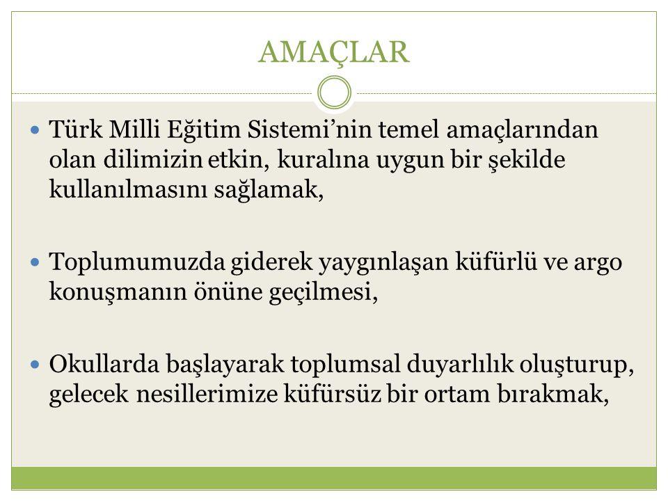 AMAÇLAR Türk Milli Eğitim Sistemi'nin temel amaçlarından olan dilimizin etkin, kuralına uygun bir şekilde kullanılmasını sağlamak,