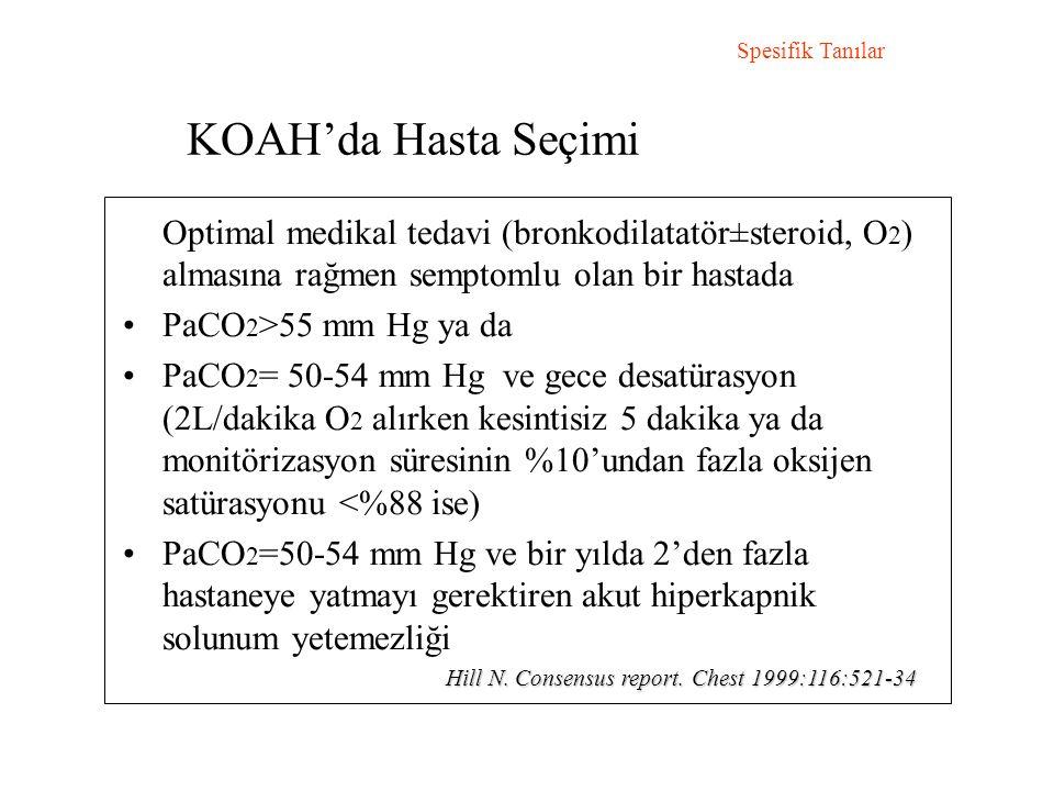 Spesifik Tanılar KOAH'da Hasta Seçimi. Optimal medikal tedavi (bronkodilatatör±steroid, O2) almasına rağmen semptomlu olan bir hastada.
